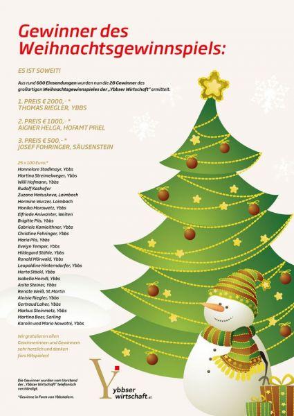 Gewinner Weihnachtsgewinnspiel Ybbser Wirtschaft